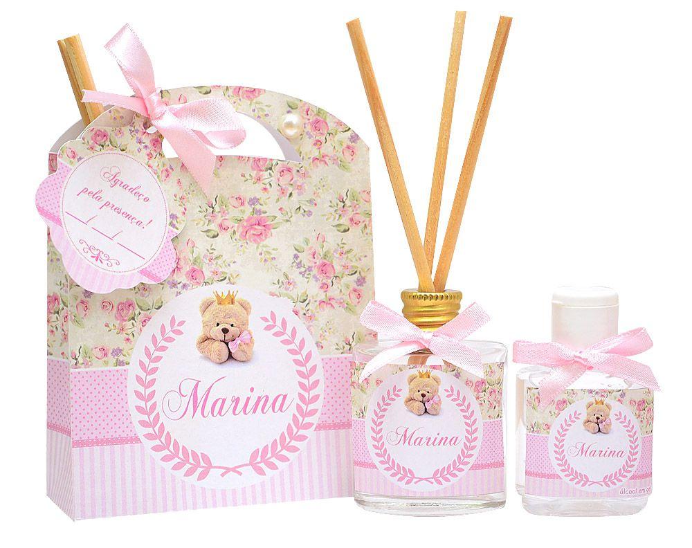 Lembrancinhas personalizadas caixinha com difusor e ambiente e álcool em gel tema ursinha floral  - Valentina Milan Lembrancinhas