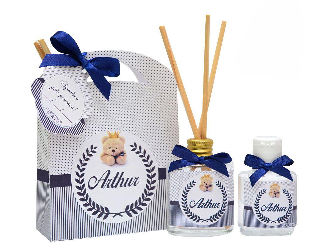 10 Lembrancinhas personalizadas caixinha com difusor e ambiente e álcool em gel tema ursinho  - Valentina Milan Lembrancinhas