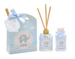 10 Lembrancinhas personalizadas caixinha com difusor e ambiente e álcool em gel tema elefantinho