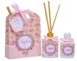 10 Lembrancinhas personalizadas caixinha com difusor e ambiente e álcool em gel tema floral