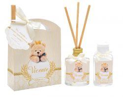 10 Lembrancinhas personalizadas caixinha com difusor e ambiente e álcool em gel tema ursinho rei