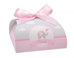 10 Lembrancinhas personalizadas caixinha para bombom ou bem nascido chevron cinza e rosa elefante