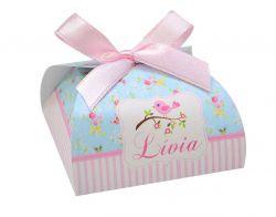 10 Lembrancinhas personalizadas caixinha para bombom ou bem nascido passarinhos e jardim