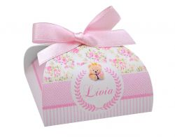 10 Lembrancinhas personalizadas caixinha para bombom ou bem nascido ursinha princesa floral