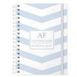 Agenda personalizada 2020 tema azul claro chevron