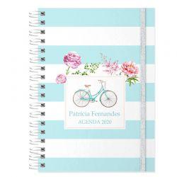 Agenda personalizada 2020 bicicleta e floral