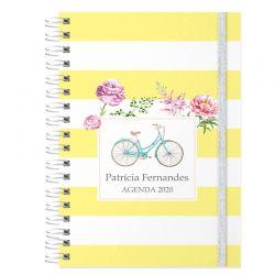Agenda personalizada 2020 amarela - bicicleta