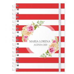 Agenda personalizada 2020 floral e listrado vermelho