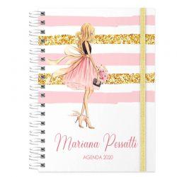 Agenda personalizada 2020 tema glamour dourado e rosa claro