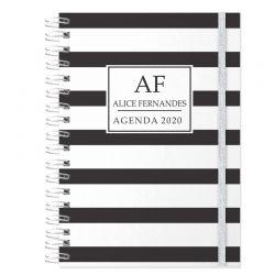 Agenda personalizada 2020 tema listrado preto e branco