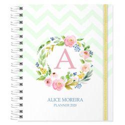 Planner 2020 personalizado floral e inicial do nome