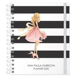 Planner 2020 personalizado glamour e listras preto e branco