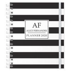 Planner 2020 personalizado listras preto e branco