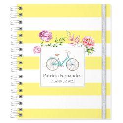 Planner 2020 personalizado tema bicicleta e floral listrado