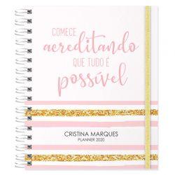 Planner 2020 personalizado tema listrado rosa claro e dourado