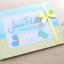 Álbum e diário do bebê para registrar momentos especiais personalizado no tema dinossauro