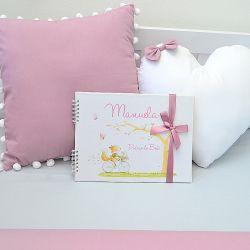 Álbum e diário do bebê para registrar momentos especiais personalizado no tema  rosa seco