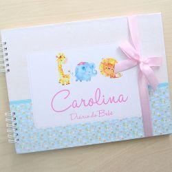 Álbum e diário do bebê para registrar momentos especiais personalizado no tema safari menina e bichinhos