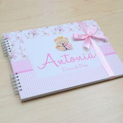 Álbum e diário do bebê para registrar momentos especiais personalizado no tema  ursinha e floral