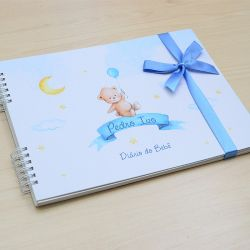 Álbum e diário do bebê para registrar momentos especiais personalizado no tema ursinho e balão