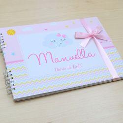 Álbum e diário do bebê para registrar momentos especiais personalizado tema chuva de amor