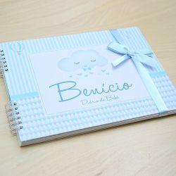Álbum e diário do bebê para registrar momentos especiais personalizado tema chuva de amor e nuvens