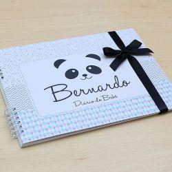 Álbum e diário do bebê para registrar momentos especiais personalizado tema panda