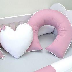 Almofada para amamentação do bebê tema rosa seco e cinza