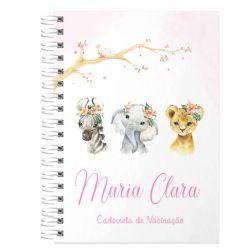 caderneta de Vacinação e Saúde Personalizada completa menina tema bichinhos safari e flores