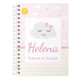 Caderneta de Vacinação e Saúde Personalizada completa menina tema chuva e amor e nuvens