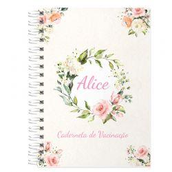 Caderneta de Vacinação 2020 Personalizada menina floral