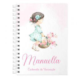 Caderneta de Vacinação e Saúde Personalizada completa menina tema floral