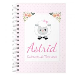 Caderneta de Vacinação e Saúde Personalizada completa menina  tema ovelhinha