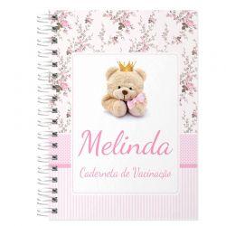Caderneta de Vacinação e Saúde Personalizada completa menina tema ursinha e floral