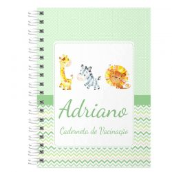 Caderneta de Vacinação e Saúde Personalizada completa tema bichinhos do safari