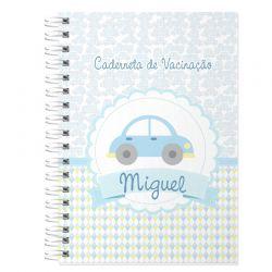 Caderneta de Vacinação e Saúde Personalizada completa tema carrinhos e transportes