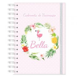 Caderneta de Vacinação personalizada tropical flamingos