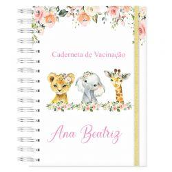 Caderneta de Vacinação personalizada bichinhos safari