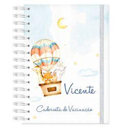 Caderneta de Vacinação personalizada balões e bichinhos do safari