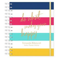 Caderno personalizado Listras e Frase