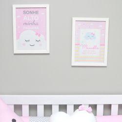 Conjunto de 2 quadrinho para decoração do quarto ou maternidade  tema chuva de amor e nuvens