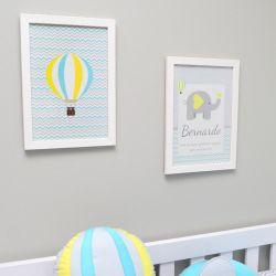Conjunto de 2 quadrinho para decoração do quarto ou maternidade  tema elefante e balões chevron