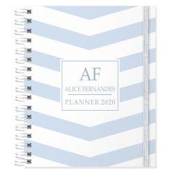 Planner 2020 personalizado listras azul claro pastel