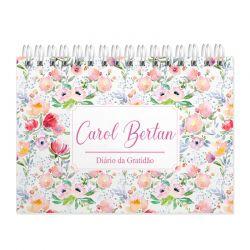 Diário  da Gratidão  personalizado estampa com flores