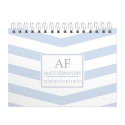 Diário  da Gratidão  personalizado estampa listras azuis