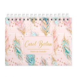 Diário  da Gratidão  personalizado estampa penas tons de rosa