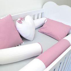 Kit 4 Rolinhos para o berço tema rosa seco e cinza