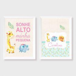 kit com 2 quadros para decorativos para quarto ou maternidade coleção safari menina