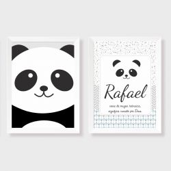 kit com 2 quadros para decorativos para quarto ou maternidade coleção Panda