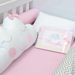 Kit de berço para o bebê completo 9 peças tema chuva de amor e nuvens + álbum do bebê